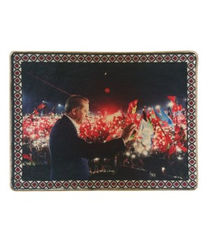 Yenikapı RTE Demokrasi Mitingi Halı Portresi 70 x 90 cm. (demokrasirte7090no1)